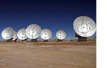 The first eight radio telescopes of the intercontinental project ALMA at 5,100m above sea level